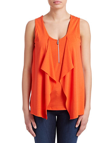 Armani Jeans Drape Panel Jersey Tank Top-ORANGE-XX-Small