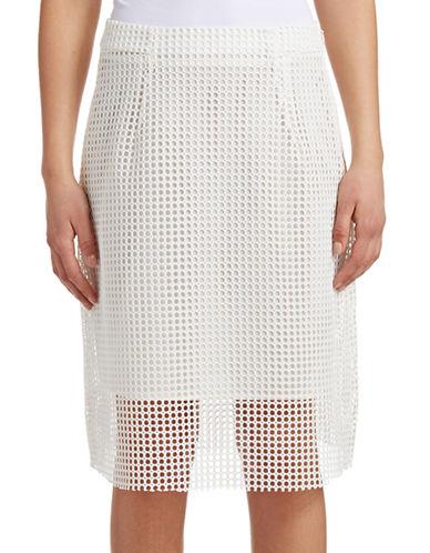 Armani Jeans Fancy Mesh A-Line Skirt-WHITE-10