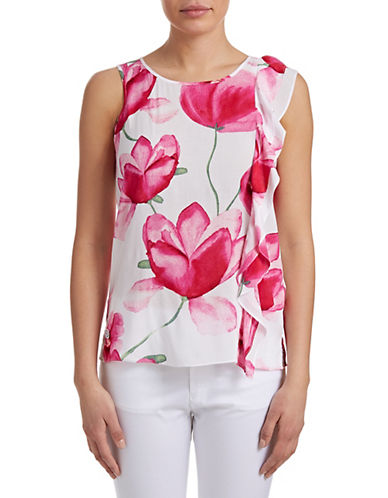 Armani Jeans Floral Side Ruffle Blouse-WHITE-2