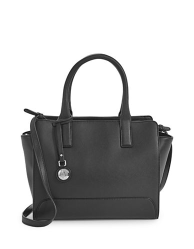 Armani Jeans Saffiano Top Handle Handbag-BLACK-One Size