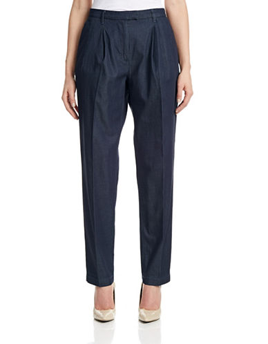 Armani Jeans Pleated Chambray Trousers-BLUE-27