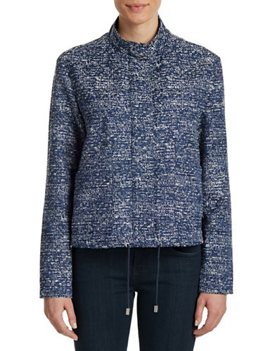 Armani Jeans Mock Neck Boucle Jacket-BLUE-8