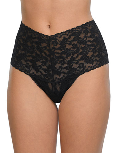 Hanky Panky Retro Lace Thong-BLACK-One Size