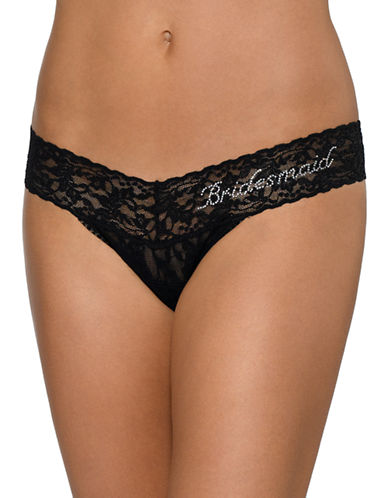 Hanky Panky Low Rise Bridesmaid Thong-BLACK-One Size