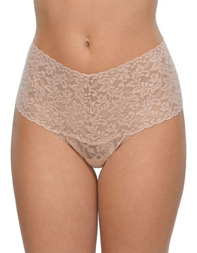 Hanky Panky Retro Lace Thong-BEIGE-One Size