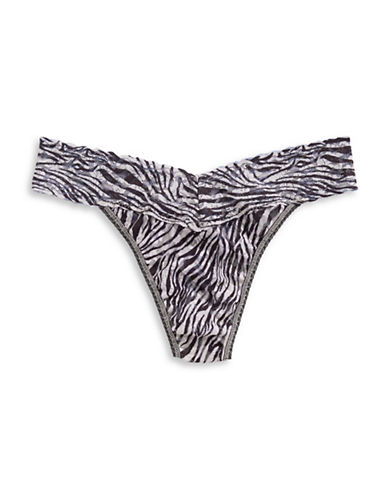 Hanky Panky Original Rise Zebra Lace Thong-BLACK/WHITE-One Size