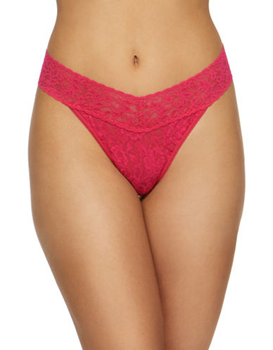 Hanky Panky Original Rise Lace Thong-BRIGHT ROSE-One Size