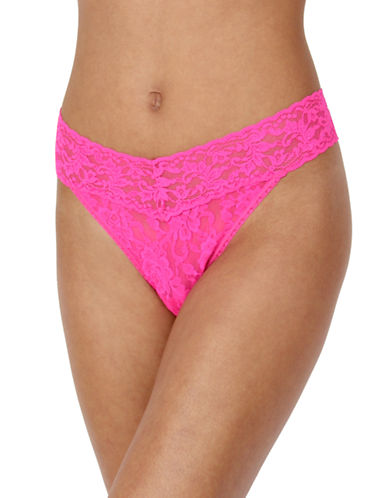 Hanky Panky Original Rise Lace Thong-PASSIONATE PINK-One Size