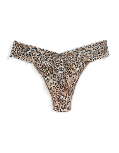 Hanky Panky Original Rise Leopard Lace Thong-BROWN-One Size