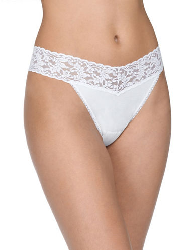 Hanky Panky Floral Lace Thong-WHITE-One Size