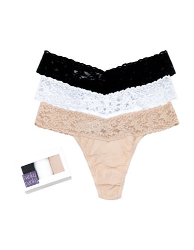 Hanky Panky Three-Pack Cotton Conscience Low Rise Thongs-ASSORTED-One Size