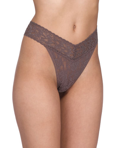 Hanky Panky Original Rise Lace Thong-CAPUCCINO-One Size