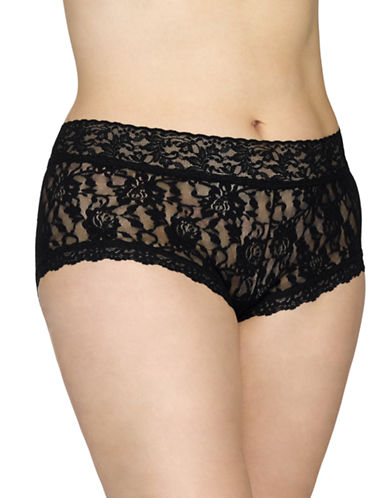 Hanky Panky Plus Signature Lace Boy Shorts-BLACK-1X