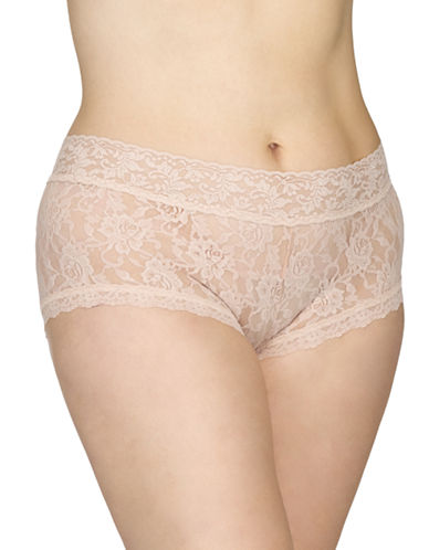 Hanky Panky Plus Signature Lace Boy Shorts-CHAI-2X