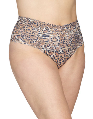 Hanky Panky Plus Leopard Retro Thong-LEOPARD-One Size