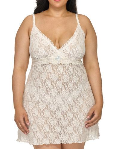 Hanky Panky Plus Rosalyn Signature Lace Chemise-IVORY/BLUE-2X plus size,  plus size fashion plus size appare