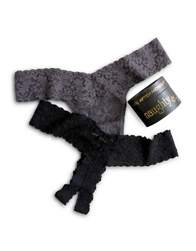 Hanky Panky Naughty And Nice Box 2 Pack Thongs-BLACK/GRAPHITE-One Size