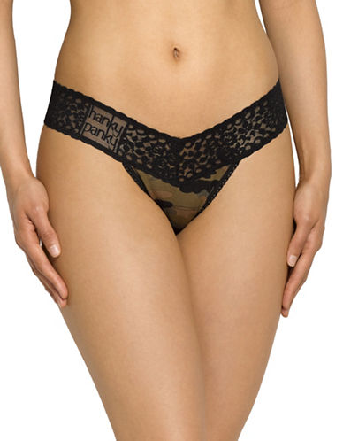 Hanky Panky Camo Jersey Low-Rise Thong-GREEN-One Size