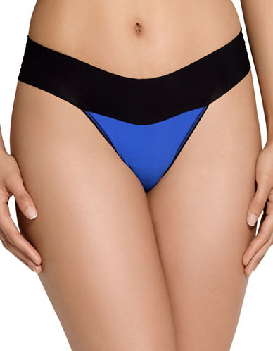 Hanky Panky Two-Tone Thong-COBALT-Small