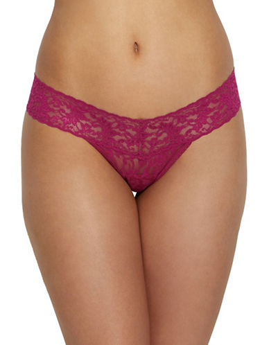 Hanky Panky Signature Lace Low-Rise Thong-DARK PINK-One Size