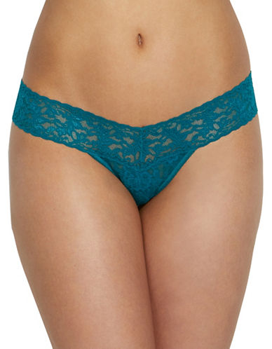 Hanky Panky Signature Lace Low-Rise Thong-BLUE GREEN-One Size