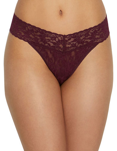 Hanky Panky Original Rise Lace Thong-DARK RED-One Size