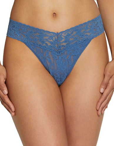 Hanky Panky Original Rise Lace Thong-STORM BLUE-One Size