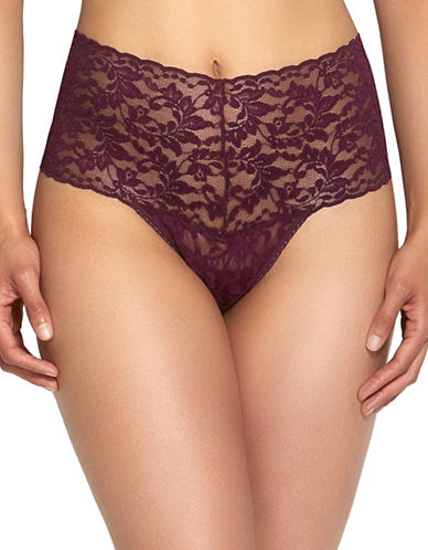 Hanky Panky Retro Lace Thong-DARK RED-One Size