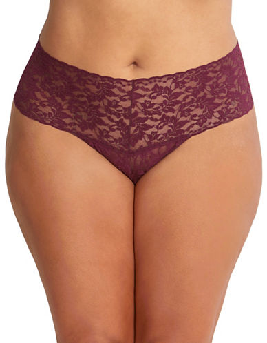 Hanky Panky Plus Size Retro Thong-DARK RED-One Size