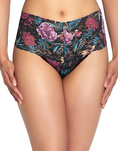 Hanky Panky Moody Blooms Retro Thong-DARK FLORAL-One Size