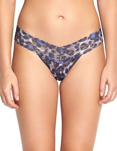 Hanky Panky Mysterious Feline Low Rise Thong-BLUE-One Size