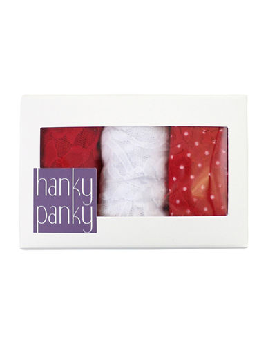 Hanky Panky Signature Stretch Lace Original Rise Thongs-RED/WHITE-One Size