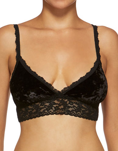 Hanky Panky Laced Velvet Bralette-BLACK-Medium