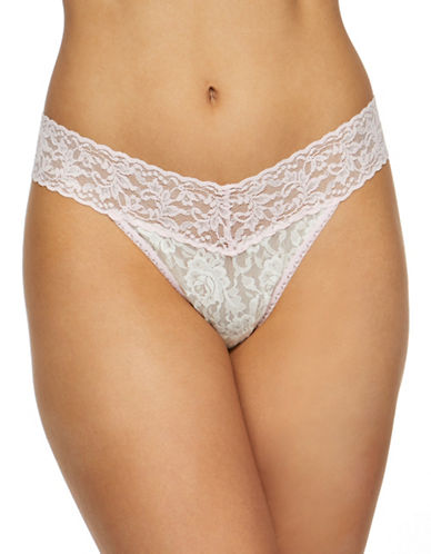 Hanky Panky Floral Original Rise Lace Thong-WHITE-One Size