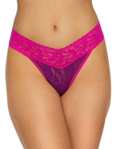 Hanky Panky Floral Original Rise Lace Thong-PURPLE-One Size