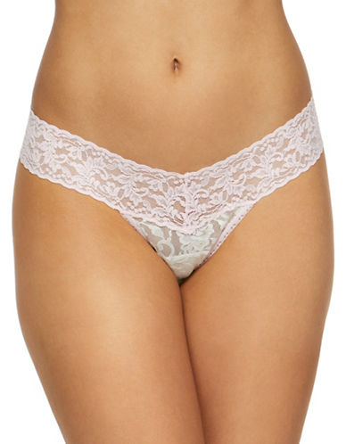 Hanky Panky Floral Low Rise Lace Thong-NATURAL-One Size
