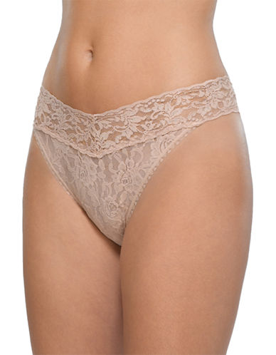 Hanky Panky Original Rise Lace Thong-BEIGE-One Size
