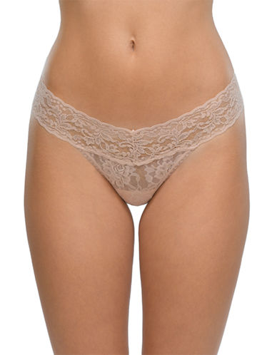 Hanky Panky Signature Lace Low-Rise Thong-BEIGE-One Size