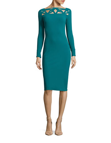 La Petite Robe Di Chiara Boni Terrie Yoke Cut-Out Bodycon Dress-GREEN-12 plus size,  plus size fashion plus size appare