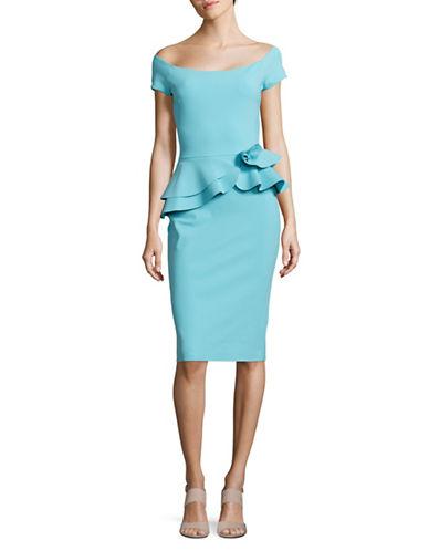 La Petite Robe Di Chiara Boni Ruffled Peplum Sheath Dress-BLUE-12