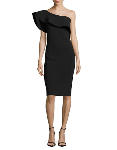 La Petite Robe Di Chiara Boni One-Shoulder Ruffle Bodycon Dress-BLACK-14