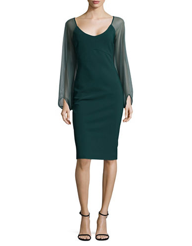 La Petite Robe Di Chiara Boni Organza Sleeve Bodycon Dress-GREEN-10