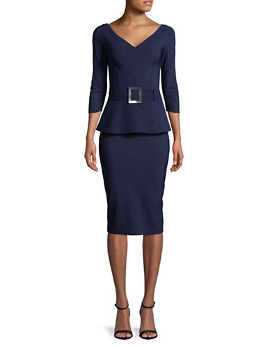 La Petite Robe Di Chiara Boni Belted Peplum Dress-NAVY-8