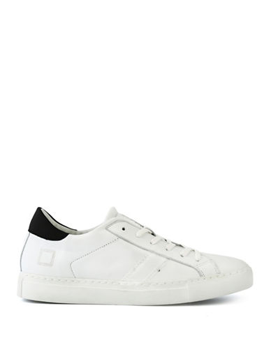 Date Newman Low White Strapstone Crystal Leather Sneakers-WHITE-8