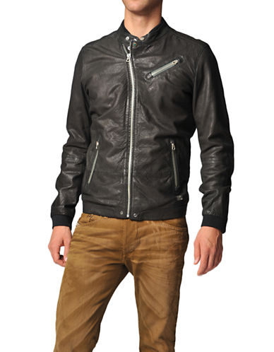 Diesel Lohar Leather Jacket-900 BLACK-Large