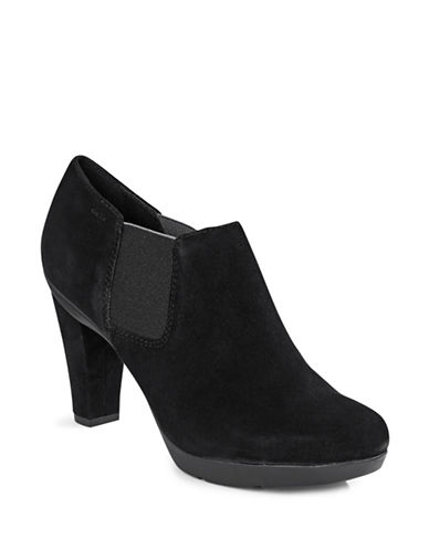 Geox Inspiration Leather Shooties-BLACK SUEDE-EUR 38/US 8