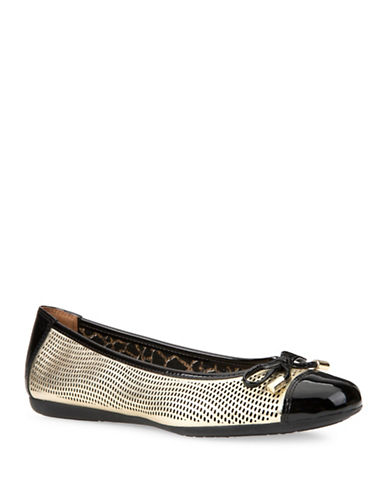 Geox Lola Perforated Leather Ballet Flats-GOLD-EUR 35/US 5