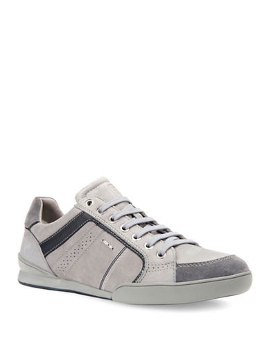 Geox U Kristof A Leather Sneakers-GREY-EU 40/US 7