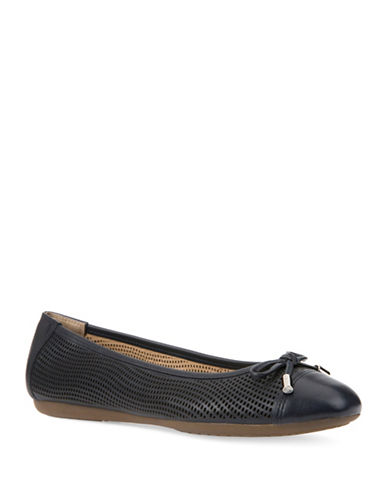Geox Lola Perforated Leather Ballet Flats-NAVY-EUR 42/US 12