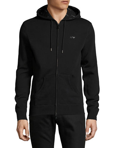 Armani Jeans Long Sleeve Brushed Cotton Fleece Hoodie-BLACK-Medium 88884535_BLACK_Medium